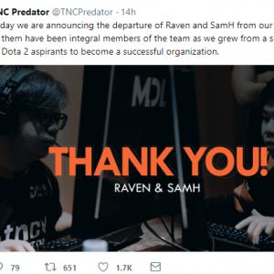 TNC公布队伍名单调整 Raven和SamH离队